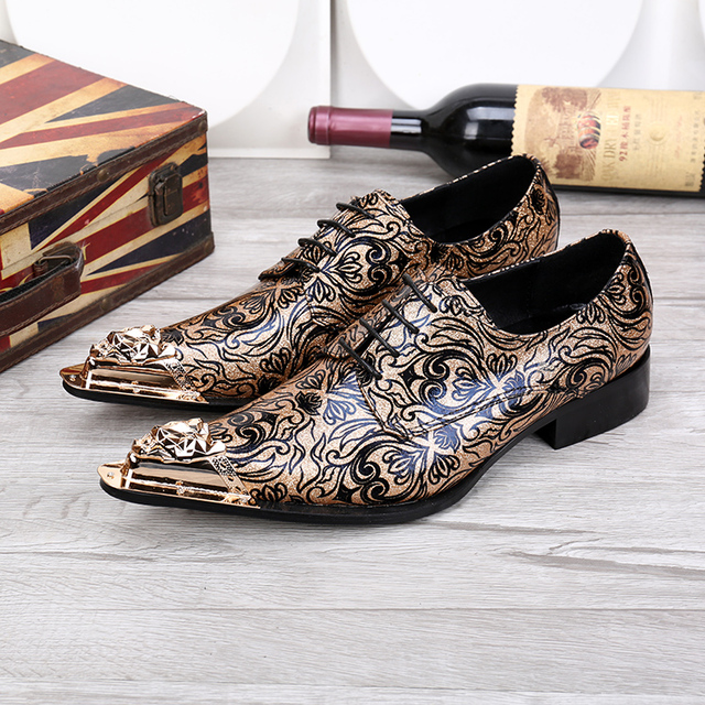 Floral Mens Wedding Dress Shoe Lace Shoes Genuine Leather Oxfords Shoes For Men Metallic Toe Gold Dress Shoes Men