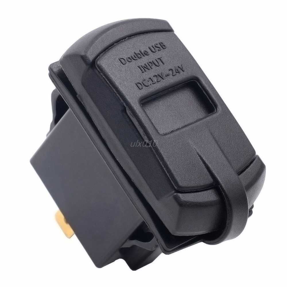 Dual USB Car Boat Socket Rocker Switch Panel with Voltage Voltmeter Blue 12V New May Drop ship