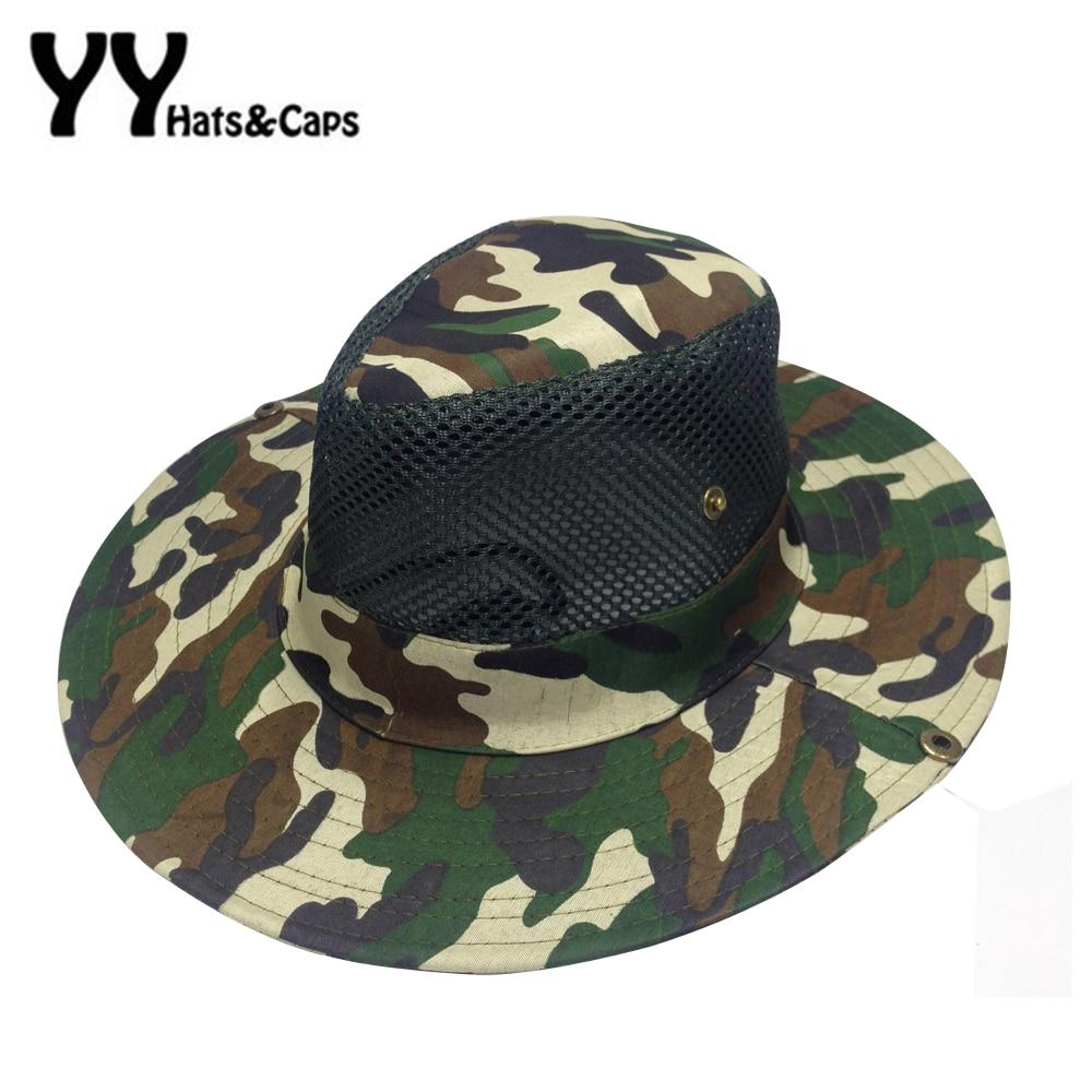 Leisure Mesh Bucket Hat for Men Camo Fishing Hat Boonie Hunting Wide Brim  Cap Fishman Summer 34cbac1e4d0e