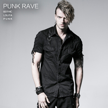 PUNK RAVE  punk style male rope-tieing shirt cotton 100% black cool shirt Y-530