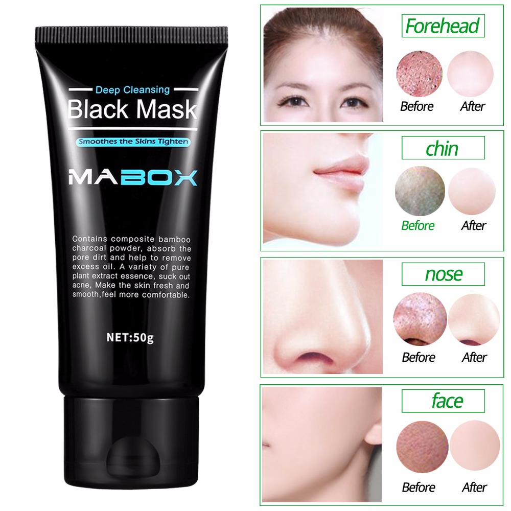 Mabox Black Mask Peel Off Bamboo Charcoal Purifying Blackhead Remover Mask Deep Cleansing for AcneScars Blemishes
