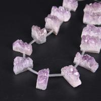15 5 Strand Natural Amethysts Quartz Drusy Top Drilled Slice Nugget Beads Raw Crystal Druzy Geode