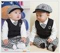 Baby Boy Clothing Sets Infant Boys Gentleman Suit Boy Vest+T-shirt+Plaid Tie+Pants+Cap 5pcs Baby Boy Clothes Set for 0-3 years