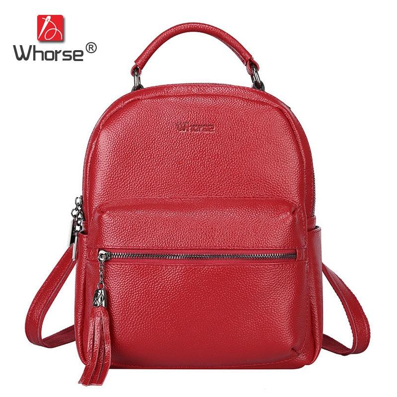 цена на Beautiful Tassel Style Soft Real Cowhide Womens Backpack Black Red School Bags Backpacks For Girls Ladies Casual Daypacks W08310
