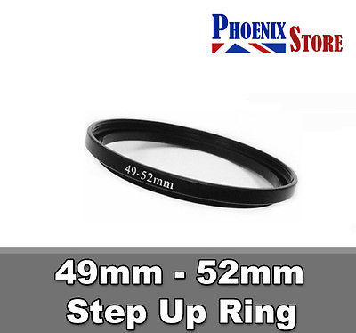 10pcs 49mm-52mm 49-52 mm 49 to 52 Step Up Filter Ring Stepping Adapter Adaptor Black
