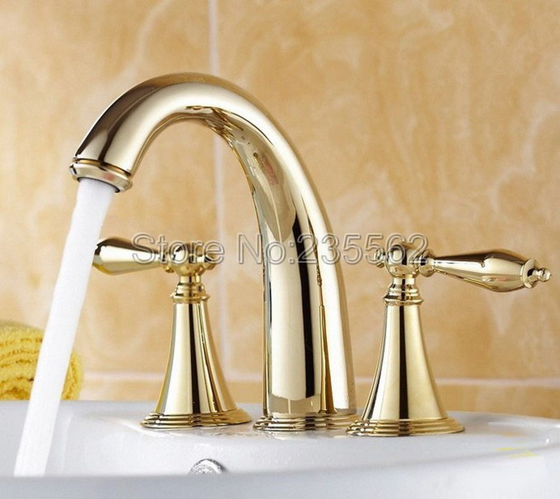 Luxury Golden Brass 3 Hole Bathroom Faucet Dual Handle Cold and Hot Water Basin Mixer Tap Bathroom Tub / Sink Faucets lnf237 kz ed8m earphone 3 5mm jack hifi earphones in ear headphones with microphone hands free auricolare for phone auriculares sport