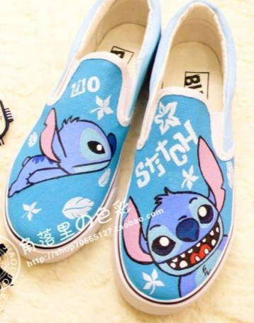 703bbb0c101b3 Lilo and Stitch Hand painted Canvas Shoes XZ80, Kids Children Boys ...