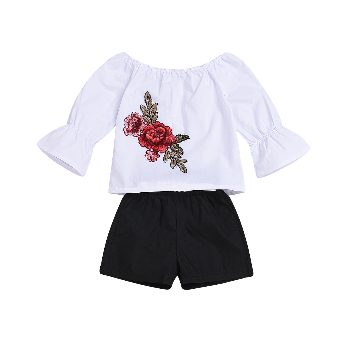 3PCS Set Baby Girl Embroidered Flower Outfits Off Shoulder T-shirt Tops Black Shorts Belt Clothes Summer