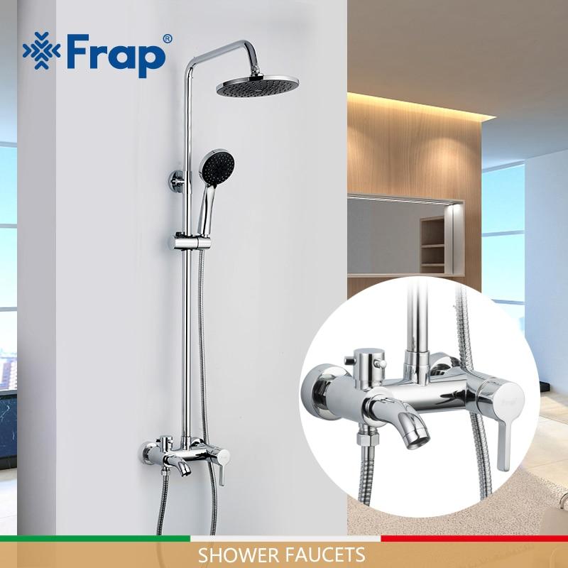 FRAP vasca da bagno rubinetti bagno doccia a cascata testa set miscelatore bagno rubinetto doccia pioggia pannello doccia vasca da bagno rubinetto rubinetto