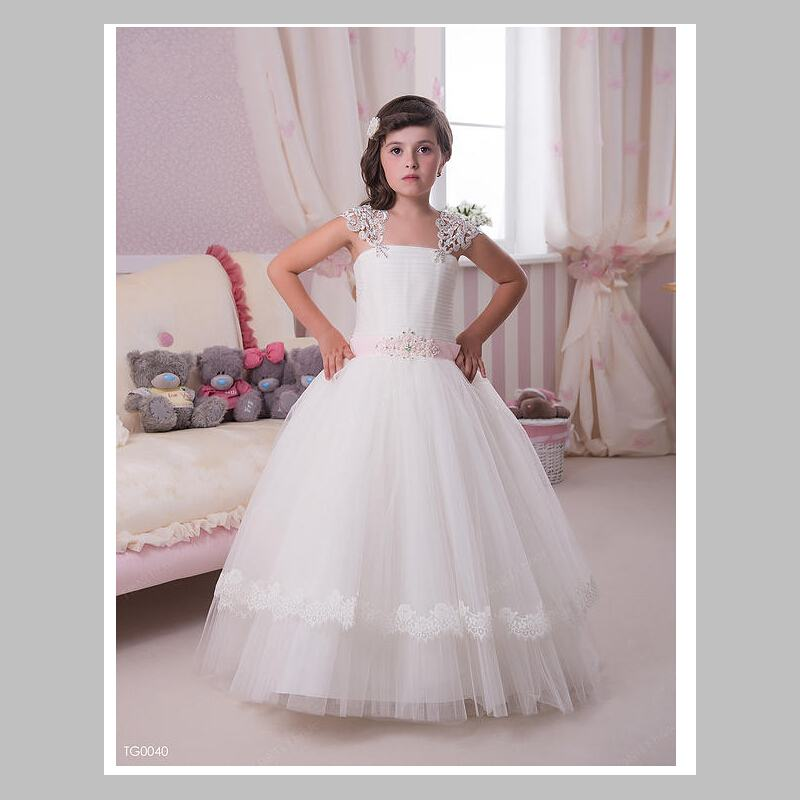 New Arrival Baal Gown Cap Sleeve Crystal Flower Girls Dresses Floor Length Tulle Lace Design Fashion Pageant Girls Dress