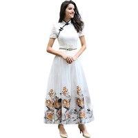 DF Embroidery Dress Xxxl Women Printed Flowers Qipao Short Sleeve Mandarin Collar Dress Ball Gown Summer