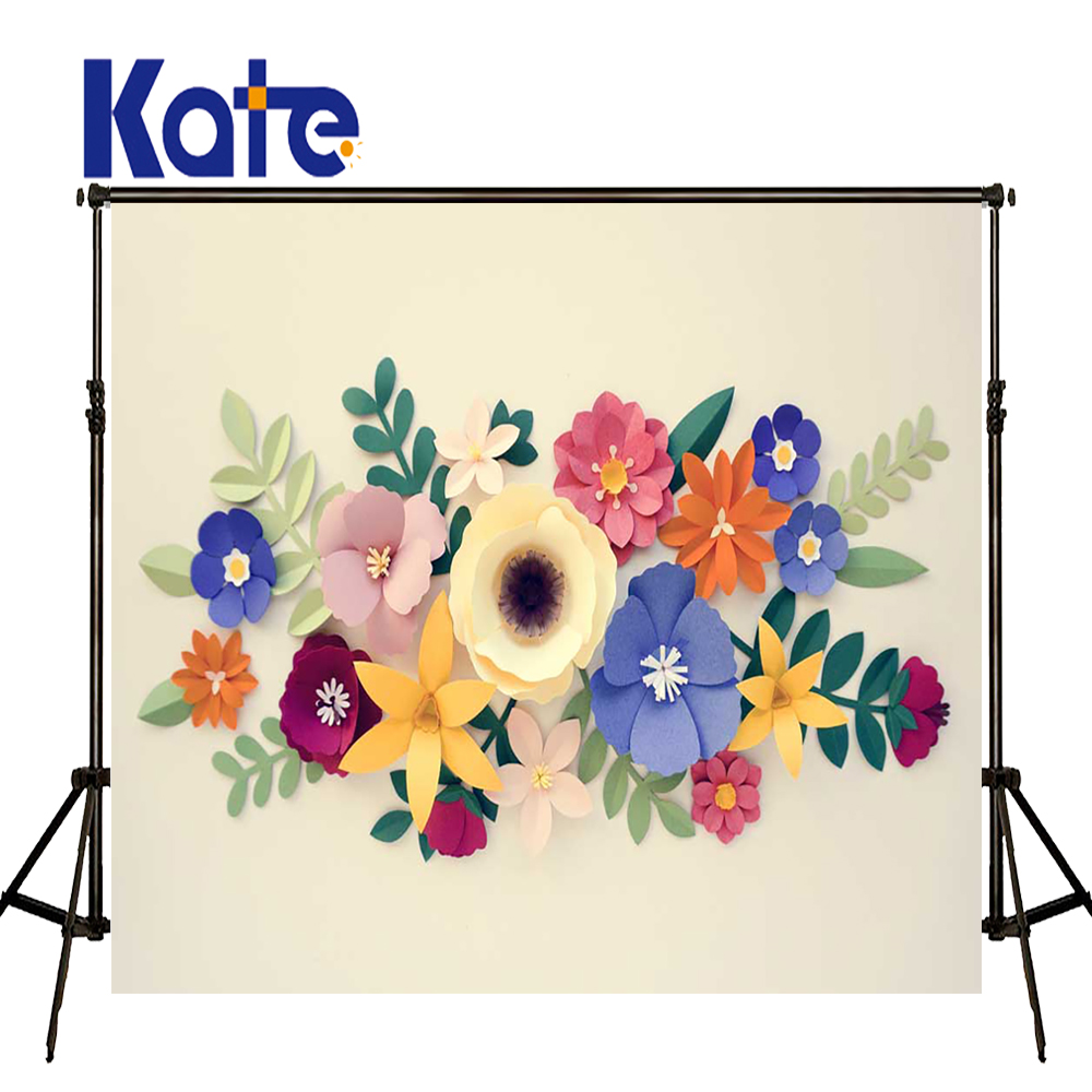 KATE Photography Background 5x7ft Beige Brick Wall Background Kids Flower Photo Backgrounds for Studio 3D Flower Tapestry allenjoy photography backdrops neat wooden structure wooden wall wood brick wall backgrounds for photo studio