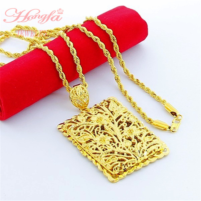 Real 24k gold jewelry 24k yellow gold 50cm chain real 24k gold plated square pendant sciox Gallery