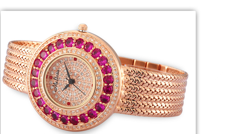 Perfect Round Case Women Dress Watches Elegant MELISSA Luxury SWA Crystals Bracelet Wrist watch Quartz Reloj Montre Femme F8098 kinston kst91872 ladybug petunia w rhinestones pattern pu case w stand for iphone 6 multicolored
