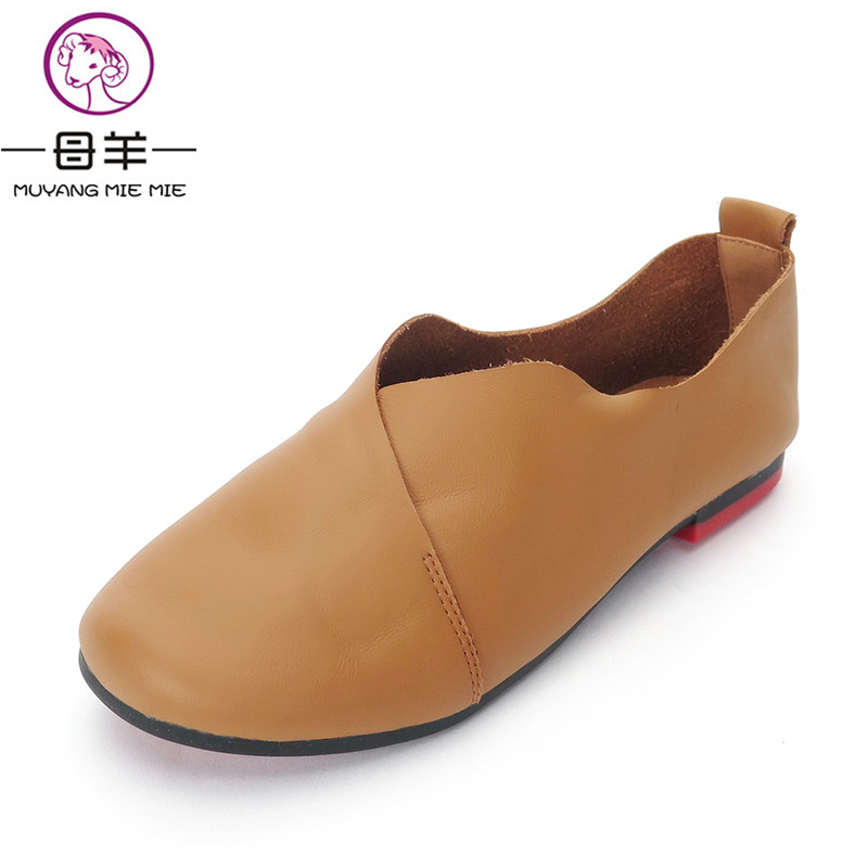MUYANG MIE MIE Women Flats 2017 Fashion Genuine Leather Single Flat Shoes Woman Soft Outsole Comfortable Loafers Women Shoes muyang mie mie genuine leather women shoes woman casual flower single flat shoes soft comfortable women flats