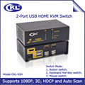 2017 CKL 2 Port HDMI KVM Switch with Auto Scan Function 2 in 1 out Switcher for Keyboard Video Mouse Supports 3D 1080P (CKL-92H)