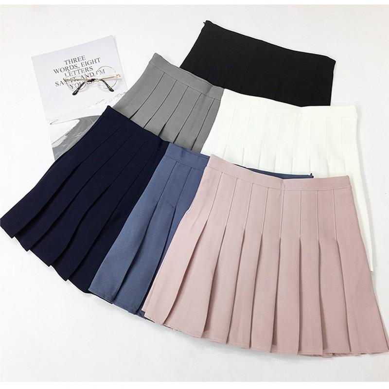 2018 Neue Hohe Taille Lolita Plissee Röcke Harajuku Mädchen A-line Mini Sailor Rock Große Größe Japanische Schuluniform Röcke
