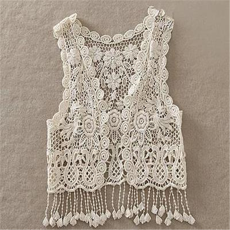 Toddler Kids Baby Girls Crochet Lace Hollow Cardigan Tops Vest Tassel - Children's Clothing