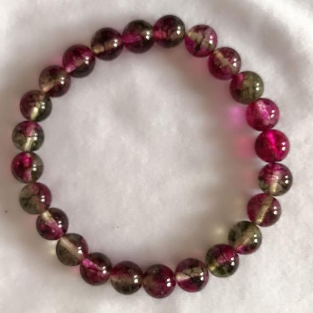 Natural Melons Crystal Bracelets Jewelry Watermelon Tourmaline Beads Bracelet 6