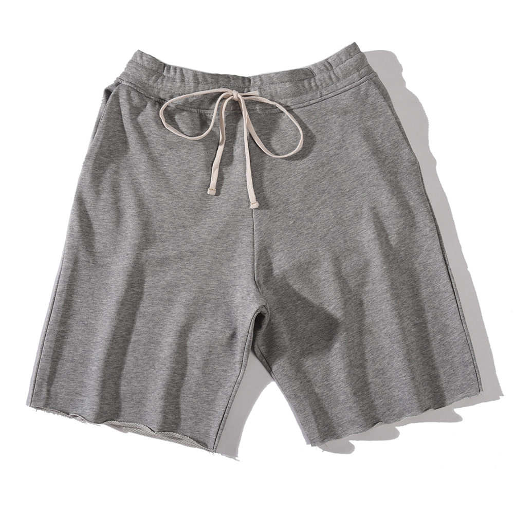 Ripped Hem Thin Terry Sweat Shorts Cotton Cord Drawstring Solid Jogg Shorts Free Shipping