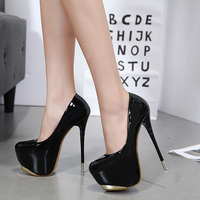 2018 new ultra high heel stiletto shoes fashion waterproof platform 18 cm trend single shoes.