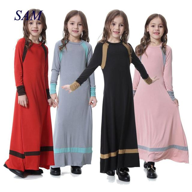 3fbbad5a5d2fed Muslim Children's Dress Middle East Malaysia Girls Dress Arabian Girl Long Dress  Eid Mubarak dresses
