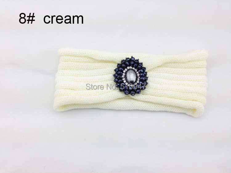 2014 nuevo rhinestone diamante flor mujeres knitted headwrap tejido ...
