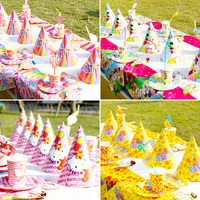 Free Shipping 43pcs Birthday Party Supplies Children S Theme Tableware 6 People Set Birthday Party Party