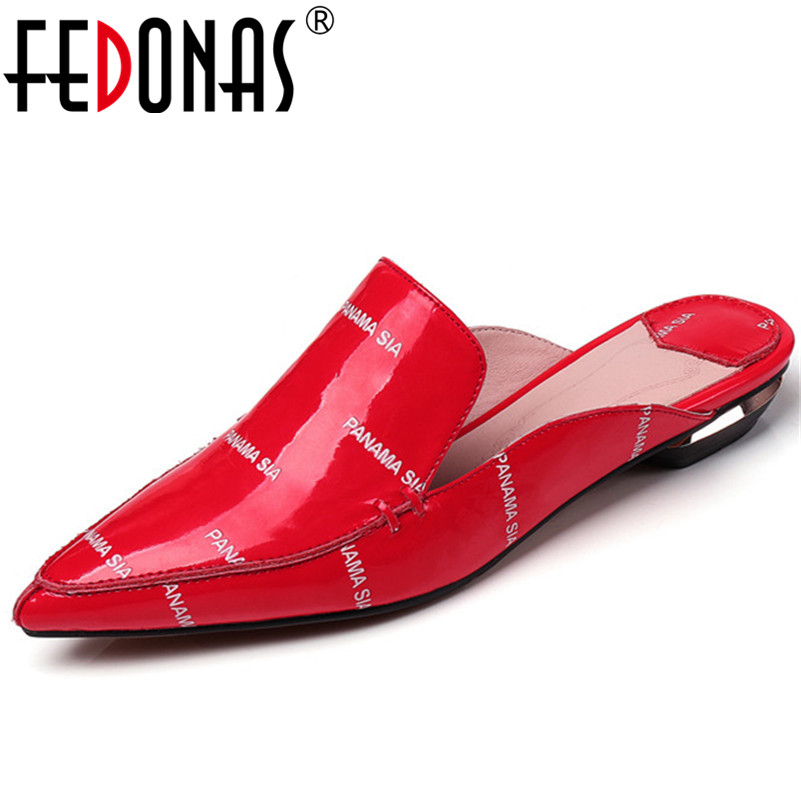FEDONAS Fashion Women Genuine Patent Leather Shoes Sexy Pointed Toe High Heeled Pumps New Loafers Shoes Woman Pumps Black Red women shoes genuine leather pointed toe high heels women pumps shoes 2018 brand new fashion sexy red women office shoes 2588 a01