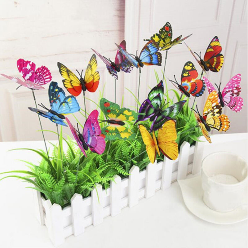 10 Pcs/Pack 3D Butterfly Garden Decor on Sticks Lawn Craft Luminous Beautiful Yard Gardening Outdoor Drop Shipping