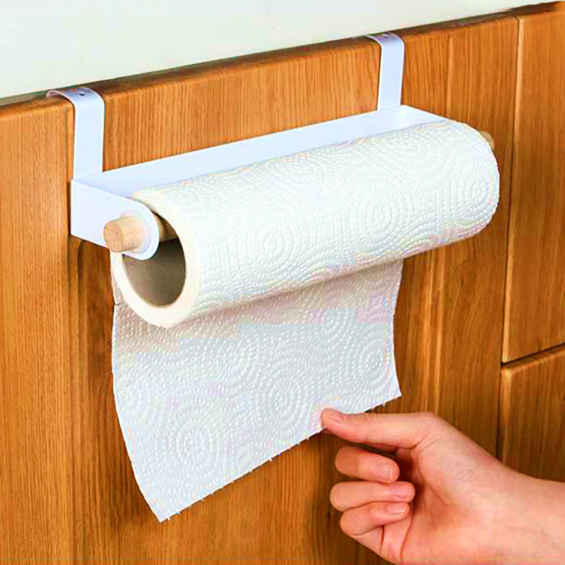 1pc Literary Wall Hanging Bracket Fashion Storage Box Rag Bracket Wood And Metal Bathroom Towel Rack Paper Towel Rack