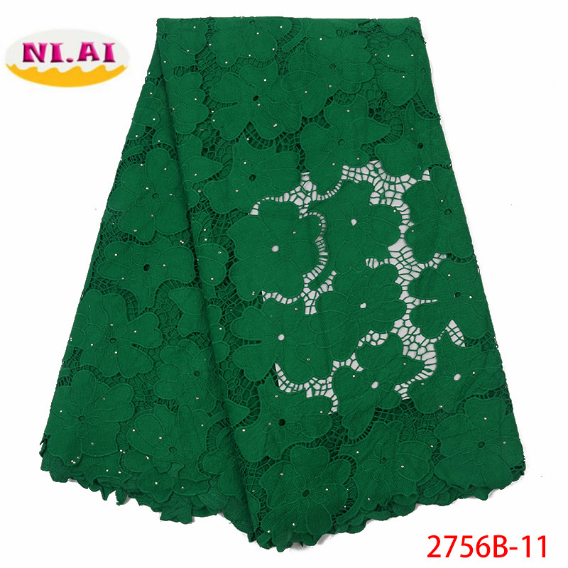 Green African Milk Silk Lace Fabric Bridal Materials French Lace Fabric Latest Nigreian Voile Lace Fabric With Stones XY2756B-11