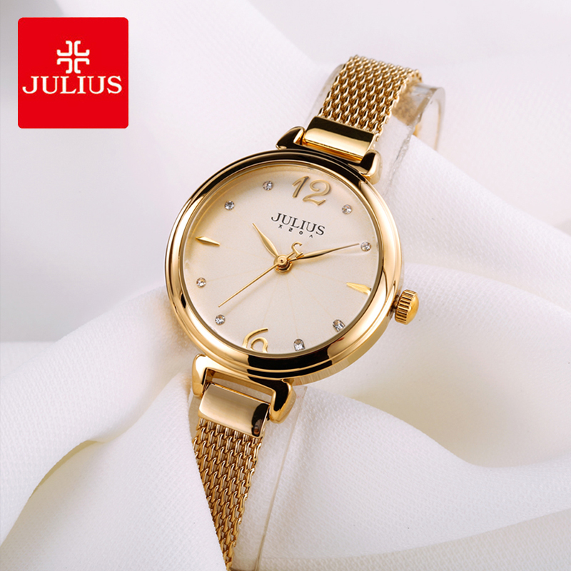 Julius Brand Lady Crystal Dial Watch Stainless Steel Mesh Belt Rose Gold Color Bracelet Wrist Watches Woman Reloj Mujer Gifts friendship gifts birthday gifts fw819e rose gold band white dial ladies elegant alexis brand crystal bracelet watch gifts box