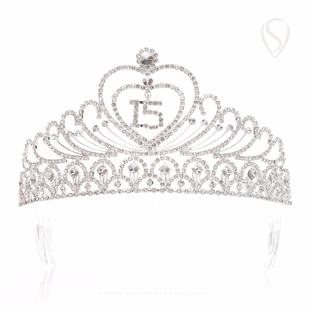 Quinceanera 15 Fifteen Birthday Heart Crystal Gold Tiara Crown Pageant Prom Part