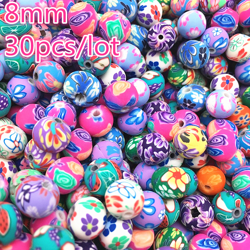 30 шт., 8 мм, бусины из полимерной глины с цветочным узором, круглые бусины россыпью, смешанные цвета для изготовления ювелирных изделий
