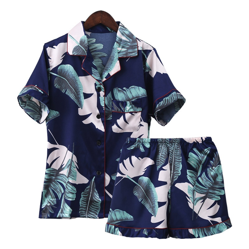 Print leaf mini Sleepwear Pyjama Femme Sexi Nightwear Women Silk Nightie Short Pants cute Home Clothing Satin   Pajamas     Set