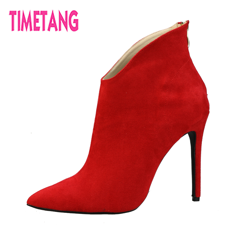 TIMETANG Elegant Winter/Spring Women Boos Concise Pointed Toe Super High Heel 9 Colors Lady Ankle Boots Size 35-42 FreeShipping ...