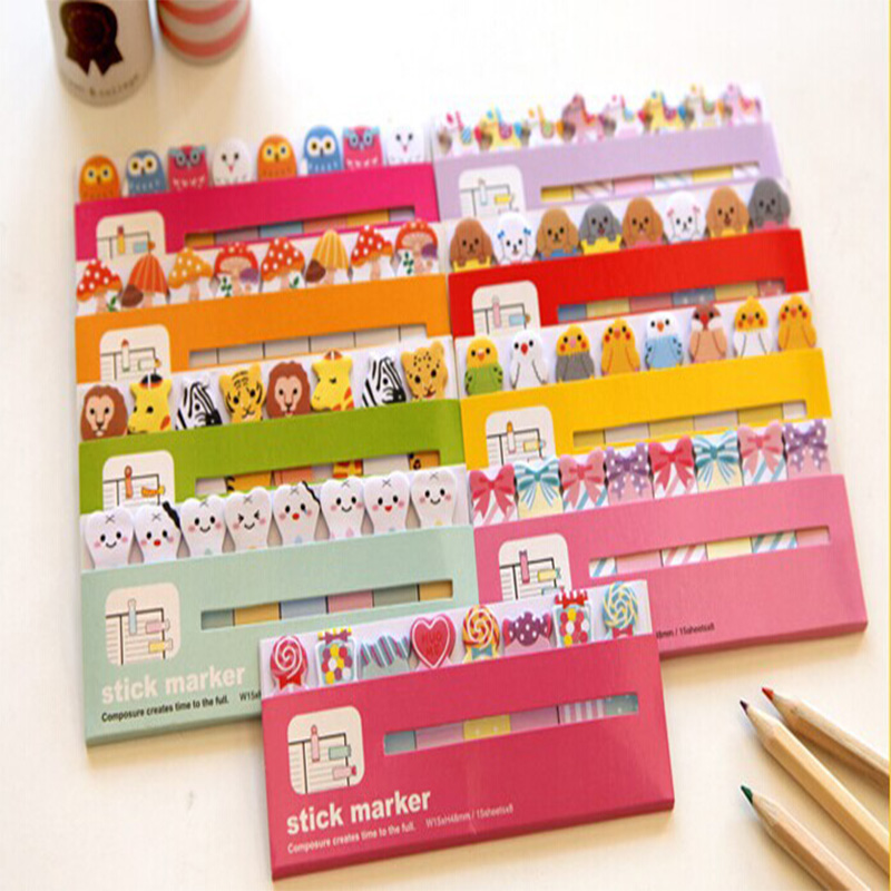 1 pc/Lot  Cartoon sticky note Post it stick & memo paper stickers  HT1401-550 bookmark stationery office School supplies 8 pack lot cat paper bookmark ice cream paper page holder memo card stationery office school supplies separador de libros 7033 page 6