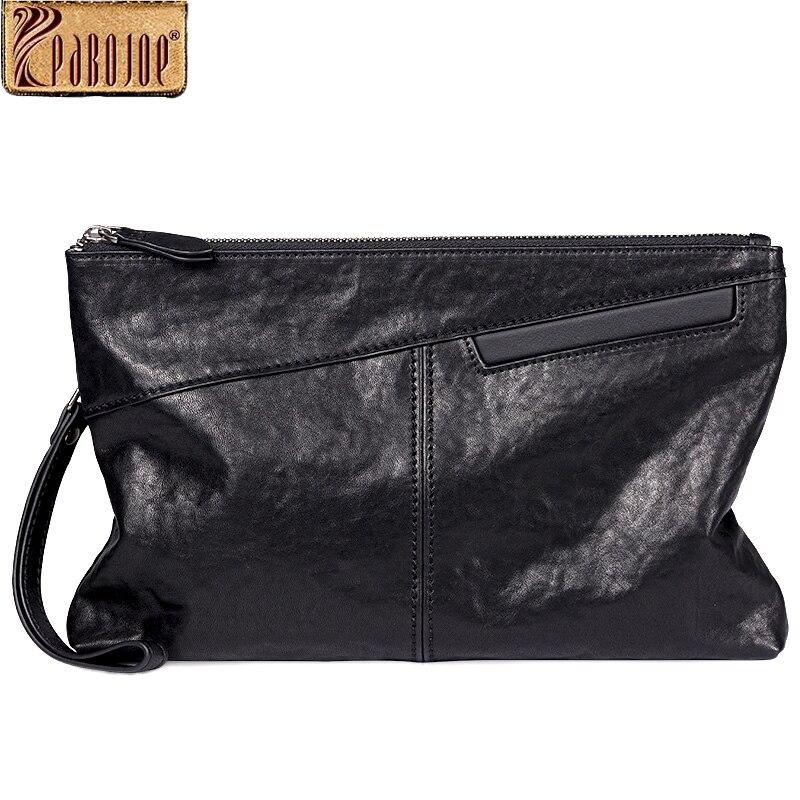 Pabojoe из натуральной кожи Для мужчин клатч сплошной узор длинные мужской кошелек держатель для карт модные Стиль большой кошелек
