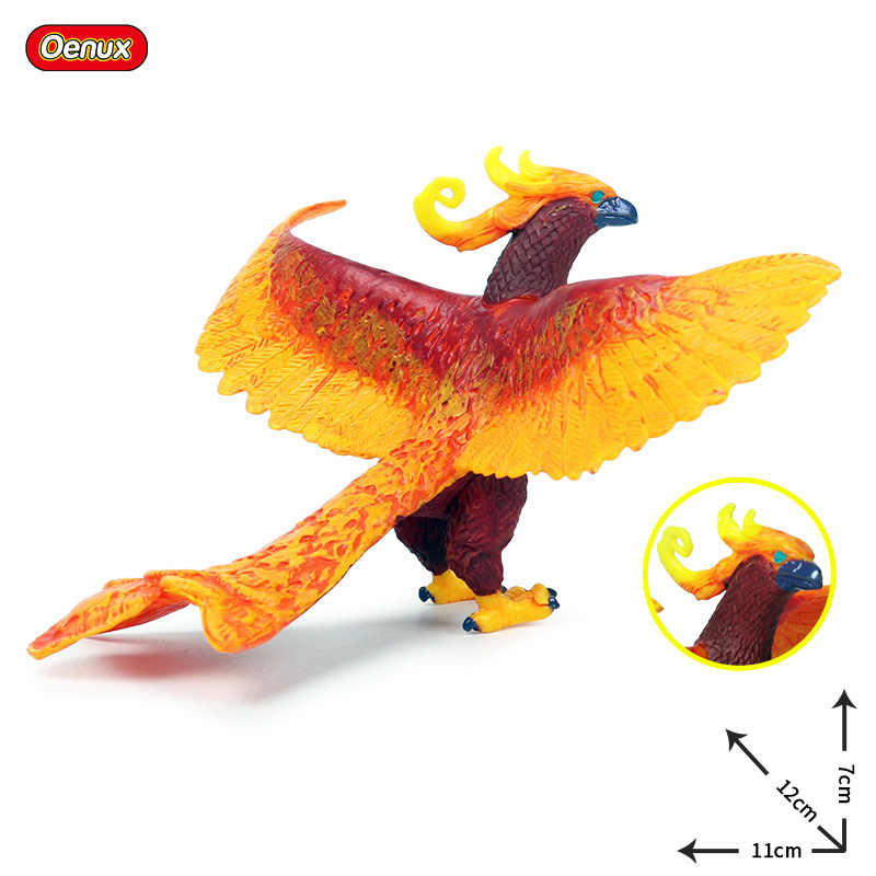 Oenux 3 PCS Original Mito Clássico Animais Simulação Lifelike Dragão Chinês Phoenix Vermelho Modelo Figuras de Ação PVC Coleção Toy