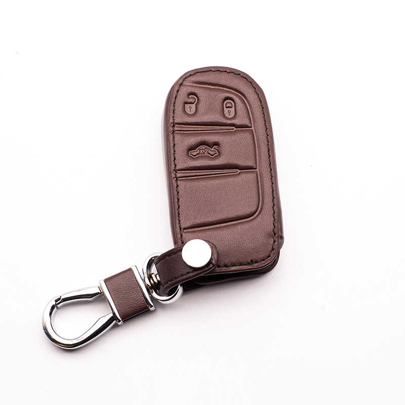 Leather Car Key Case Cover For Jeep Renegade 2014 2015 Grand Cherokee Chrysler