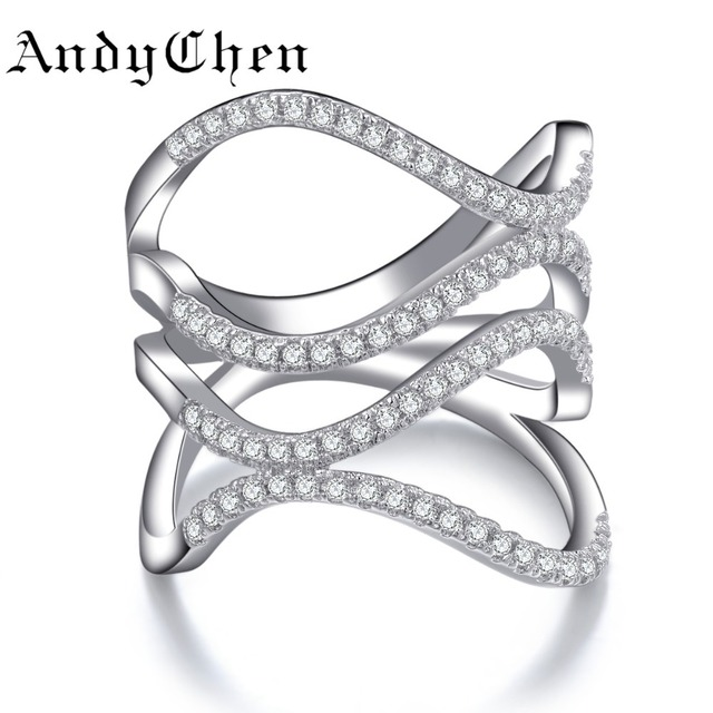 AndyChen Trendy Silver Plated Bague Wedding Hollow Zircon Rings for Women Crystal Jewelry Engagement Bijoux Femme MSR143