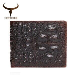 Мужской кошелек COWATHER, Черный винтажный дизайнерский бумажник из натуральной воловьей кожи с тиснением под крокодила, 2019