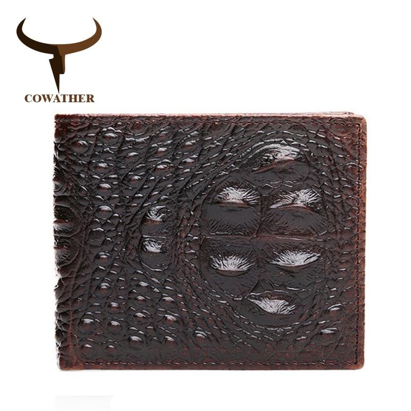 COWATHER 100% TOP Cow Genuine Leather Men Wallets 2019 Men Wallet Crocodile Embossed Purse Vintage Designer Male Free Shipping
