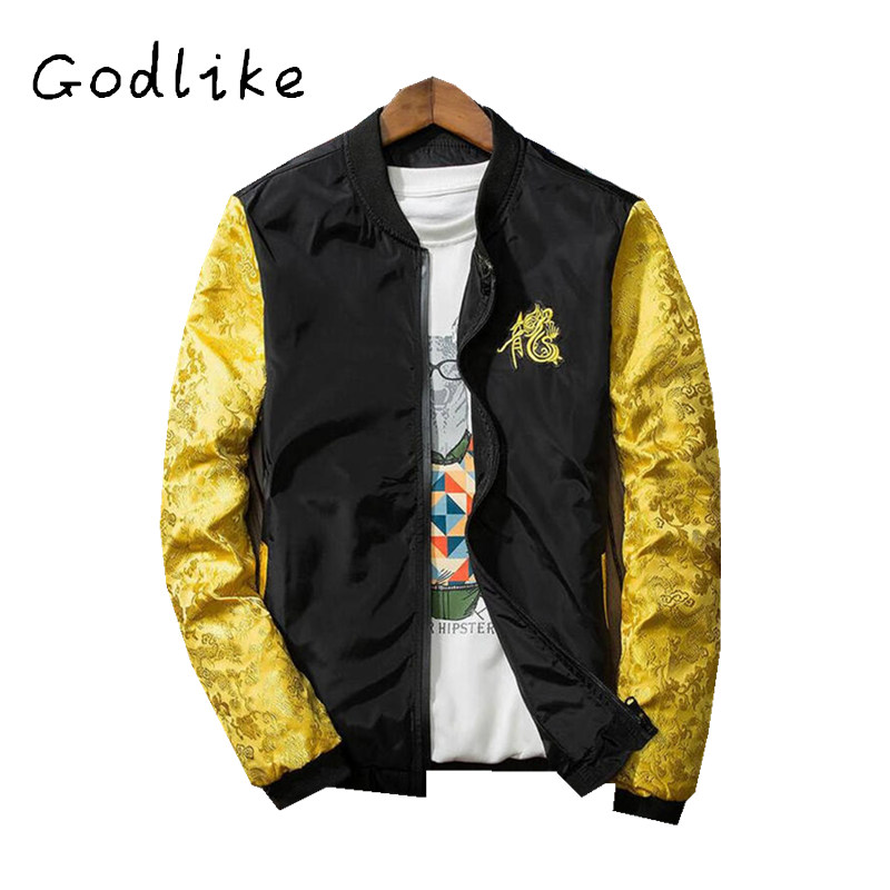 GODLIKE Quick red social spirit men embroidered long robe jacket/spring and autumn fashion and leisure embroidery coat