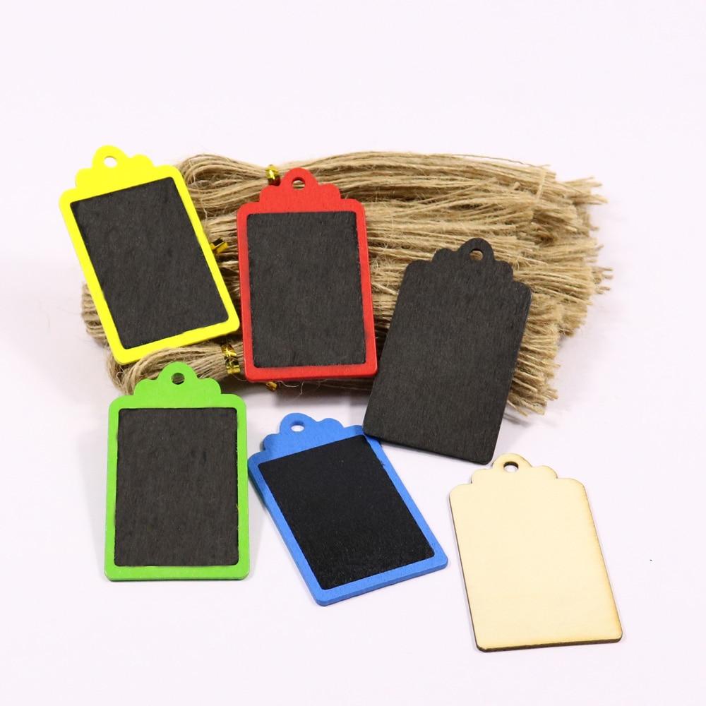 12pcs Mini DIY Black Gift Tag Wood Tag Blackboard Square Shape Blank Hang Black Tag Luggage Label With String Wrapping Supplies
