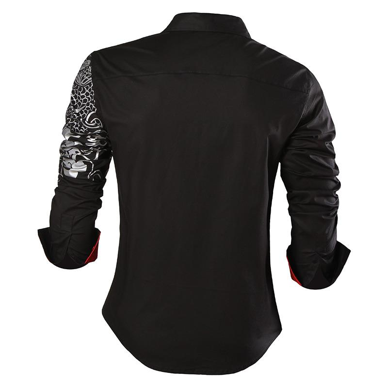 Image 2 - Sportrendy Men's Shirt Dress Casual Long Sleeve Slim Fit Fashion Dragon Stylish JZS041-in Casual Shirts from Men's Clothing