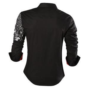 Image 4 - Sportrendy גברים של שמלת חולצה מקרית ארוך שרוול Slim Fit אופנה הדרקון אופנתי JZS044 כהה