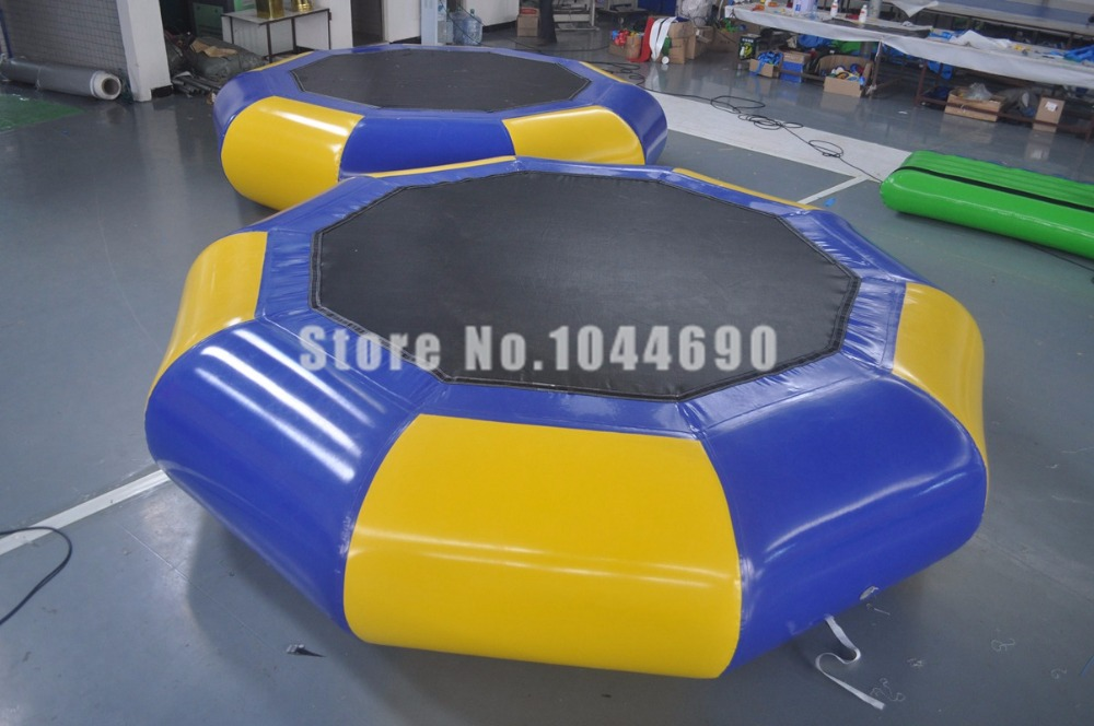 High quality inflatable water trampoline for sale, including the air bag, tube, slide and ladder 14ft round safety net spring pad ladder optional basketball set trampoline for kids
