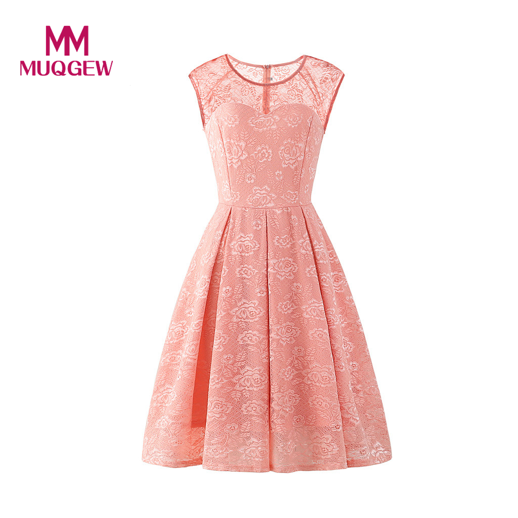 2019 Elegant Women's Sleeveless Floral Lace Solid Vintage Country Rock Cocktail Summer Dresses Woman Party Night vestidos